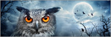 Wood print  Owl in the moonlight - Art Couture