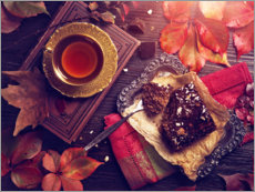 Premium poster  Chocolate cake and a cup of tea - Elena Schweitzer