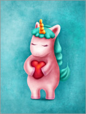 Wood print  Sweet unicorn with heart - Elena Schweitzer
