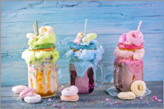 Wall sticker Freakshakes with donuts and candy floss