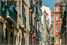 Premium poster Beautiful Architecture In Downtown Lisbon City During Summer