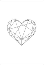 Aluminium print  Black Geometric Heart - Pulse of Art