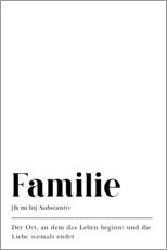 Foam board print  Familie Definition (German) - Pulse of Art