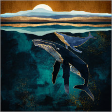 Aluminium print  Moonlit Whales - SpaceFrog Designs