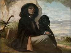 Acrylic print  Courbet with his black dog - Gustave Courbet