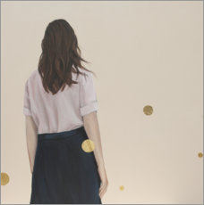 Canvas print  Golden dots (polka dots) - back view of a young woman - Karoline Kroiss