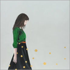 Gallery print  Golden dots (polka ddots) - portrait of a young woman - Karoline Kroiss