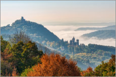 Wood print  Drachenfels with fog in the Rhine Valley - Katho Menden