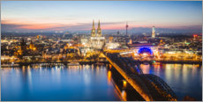Premium poster  Cologne skyline at dusk, Germany - Matteo Colombo
