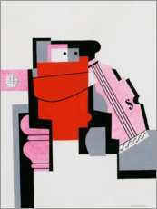 Aluminium print  Red musician with cello - Otto Carlsund