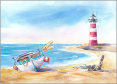 Wood print  Beach with lighthouse - Jitka Krause