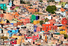 Wood print  Colorful houses view of mexican city Guanajuato - Michael Rucker