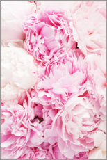 Wood print  Pink peonies - Pulse of Art