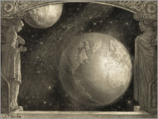 Gallery print  The Earth and the Milky Way and moon - Wladyslaw Benda