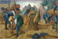 Poster  Farm workers in a flax field - Randolph Schwabe