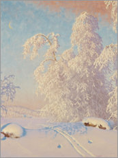 Wood  Ski tracks in the winter landscape - Gustaf Edolf Fjaestad
