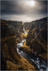 Gallery print  River leads through a canyon in Iceland - Dennis Fischer