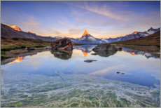 Canvas  The Matterhorn is reflected in the Stellisee - Roberto Sysa Moiola