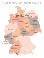 Acrylic print  Federal states and capital cities of the federal republic of Germany