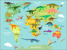 Acrylic print  World map of Dinosaurs - Kidz Collection