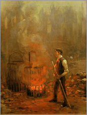 Foam board print  Worker at the coal stove - Herman Heijenbrock