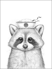 Acrylic print  Raccoon sailor - Nikita Korenkov