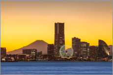 Aluminium print  Yokohama skyline with Berg Fuji - Jan Christopher Becke