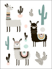 Poster  Llamas in the desert