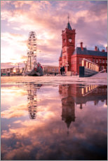 Premium poster  City Hall in Cardiff at sunset - Tobias Hoiten