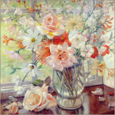 Wall sticker  A Still Life of Summer Flowers in a Glass Jug - Nora Lucy Mowbray Cundell