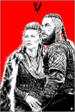 Wood  Lagerta and Ragnar Lothbrok - Paola Morpheus