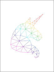Gallery print  Rainbow unicorn in profile - Nouveau Prints