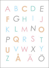 Canvas  Swedish alphabet colorful - Typobox