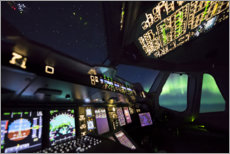 Canvas print  Airbus A380 cockpit with polar lights - Ulrich Beinert