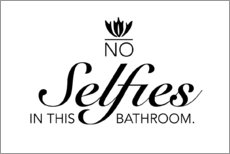 Aluminium print  No selfies in this bathroom - Typobox