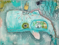 Wood print  Little whale in the ocean of dreams - Micki Wilde