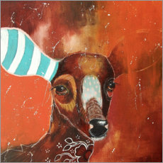 Poster  Roe deer with striped sock - Micki Wilde