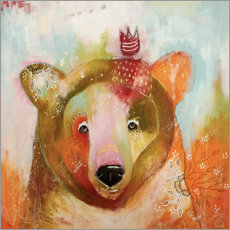 Alu-Dibond  Little King Bear - Micki Wilde