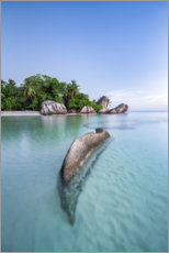 Premium poster Turquoise blue sea on the beach of the Seychelles