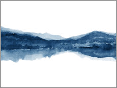 Wall sticker  Blue ink landscape - Nouveau Prints