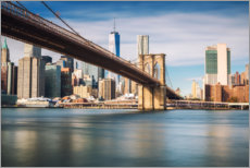 Premium poster Brooklyn Bridge overlooking New York City