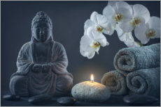 Canvas print  Buddha statue on a black background - Elena Schweitzer