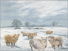 Premium poster Winter Sheep Landscape