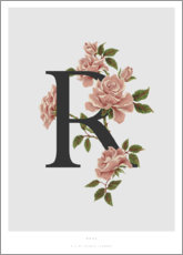 Wood print  R is for Rose - Charlotte Day