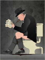 Wood print  Churchill on the toilet - Wyatt9