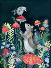 Canvas print  Mouse and bird with mushrooms - Clara McAllister