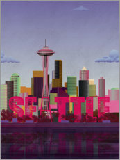 Foam board print  Seattle City Skyline - Wyatt9