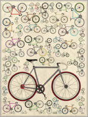 Wood print  Vintage Fixie Bicycles - Wyatt9