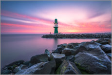 Acrylic print  Westmole Warnemünde at sunrise - Robin Oelschlegel