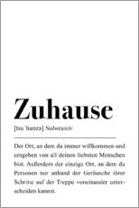 Aluminium print  Zuhause Definition (German) - Pulse of Art